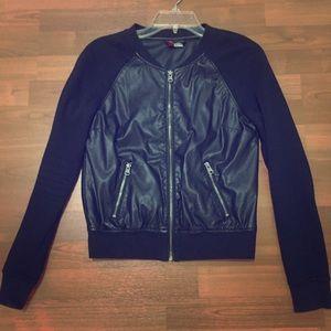 H&M black faux leather baseball style jacket